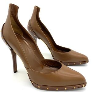 Gucci Brown Leather Studded Pumps Heels